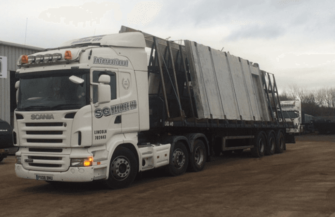 Lorry Carrying Concete Slabs